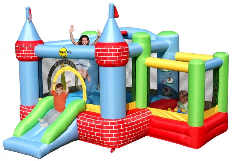 Saltea gonflabila Happy Hop Castel cu loc de joaca cu bile imagine