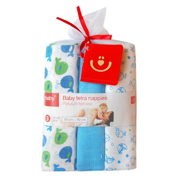 Scutece textile set 3 buc blue balene BoboBaby
