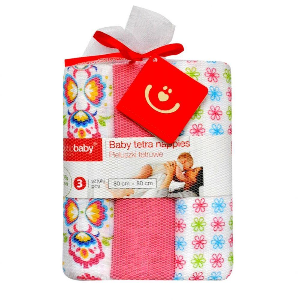 Scutece textile set 3 buc pink floricele BoboBaby