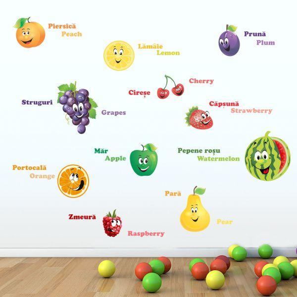 Sticker decorativ Lumea Fructelor 120 x 55 cm din categoria Camera copilului de la Tiparo