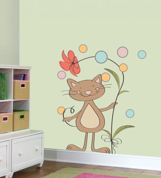 Sticker decorativ Pisica cu floare