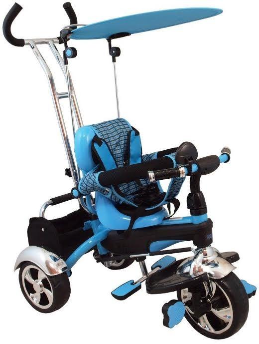 Tricicleta multifunctionala Happy Days - albastru