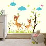 Sticker perete copii Caprioare in padure 81 x 61 cm