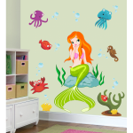 Sticker perete copii Frumoasa sirena 65 x 70 cm