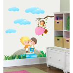 Sticker perete copii La scaldat 90 x 60 cm