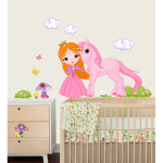 Sticker perete copii Printesa roz 84 x 80 cm