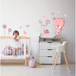 Sticker perete copii Ursulet la plimbare 67 x 70 cm