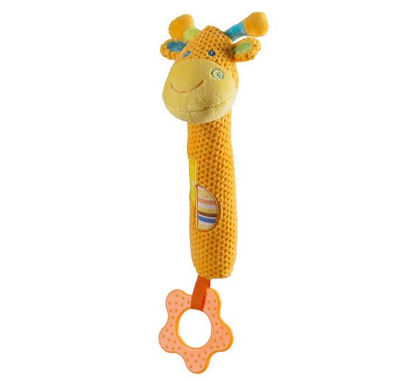 Jucarie chitaitoare cu inel gingival Girafa Galbena