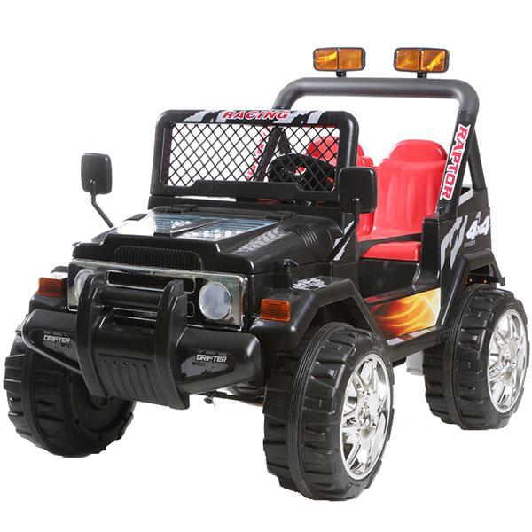 Masinuta electrica cu doua locuri si roti din plastic Drifter Jeep 4x4 Negru - 8