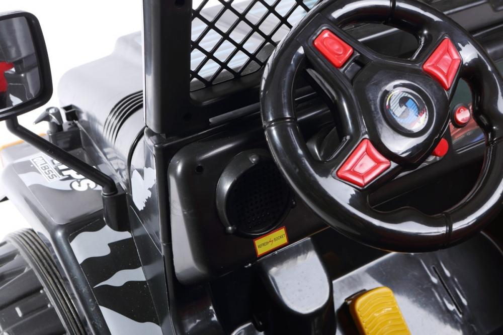 Masinuta electrica cu doua locuri si roti din plastic Drifter Jeep 4x4 Negru - 2