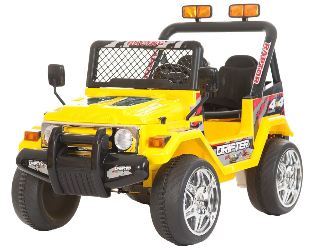 Masinuta electrica cu doua locuri si roti din plastic Drifter Jeep 4x4 Galben - 9