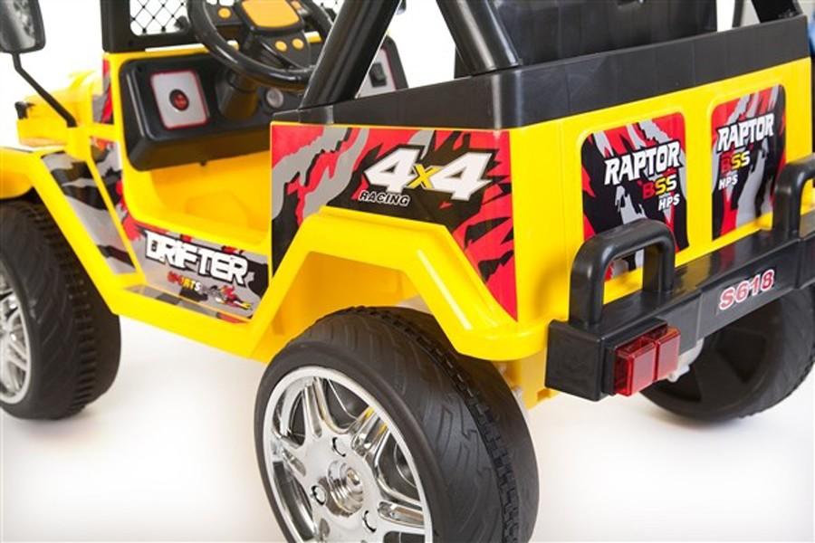 Masinuta electrica cu doua locuri si roti din plastic Drifter Jeep 4x4 Galben - 5