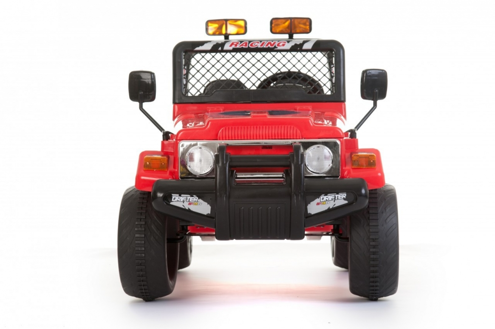 Masinuta electrica cu doua locuri si roti din plastic Drifter Jeep 4x4 Rosu