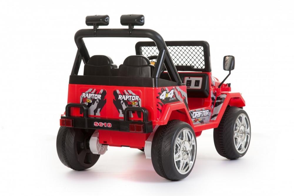 Masinuta electrica cu doua locuri si roti din plastic Drifter Jeep 4x4 Rosu - 1