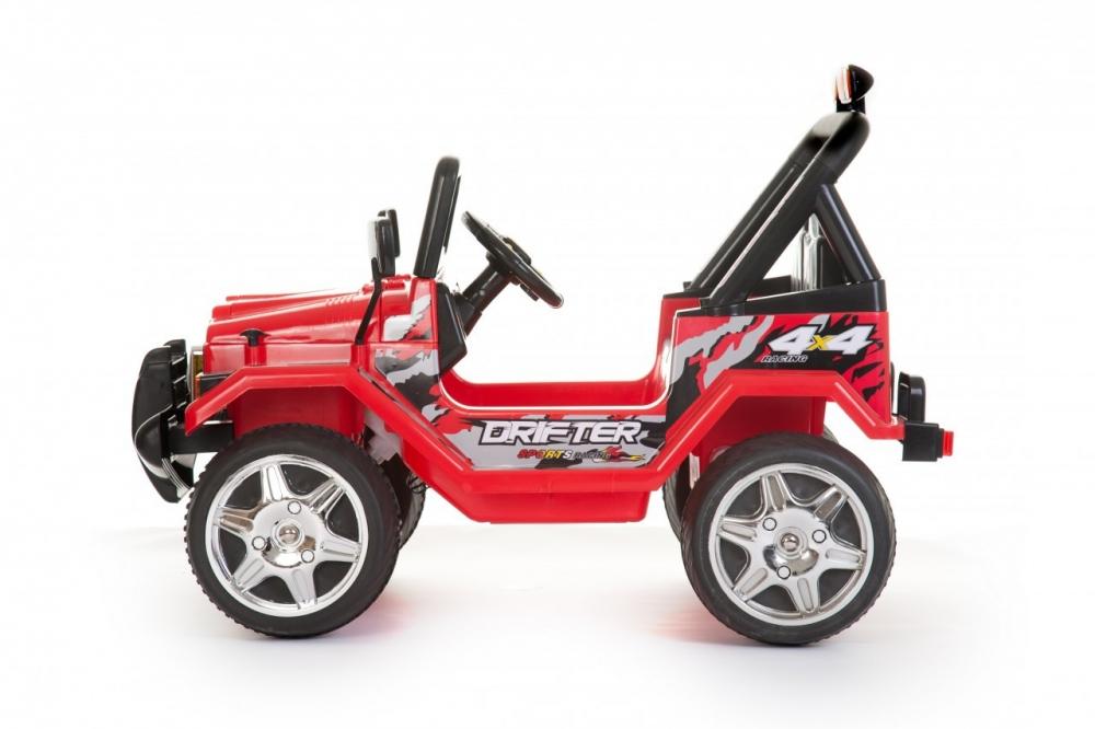 Masinuta electrica cu doua locuri si roti din plastic Drifter Jeep 4x4 Rosu - 4