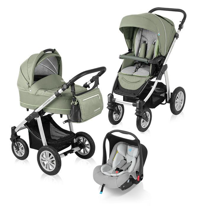 Carucior multifunctional 3 in 1 Baby Design Lupo Comfort Green (cu scoica Leo)
