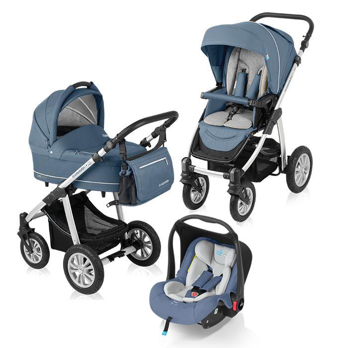 Carucior multifunctional 3 in 1 Baby Design Lupo Comfort Steel (cu scoica Leo)