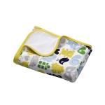 Patura din bumbac pentru bebelusi 75x100 cm Animals Yellow