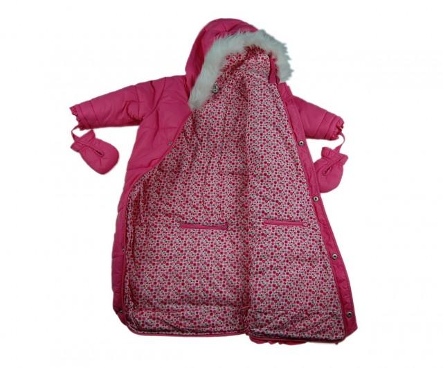 Costum ski culoare roz bebelusi (MASURA 74 (9-12 luni))