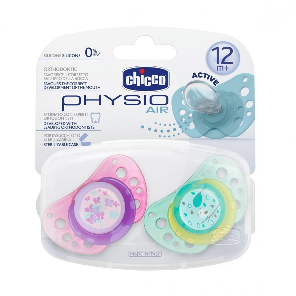 Suzeta Chicco silicon Physio Air, forma ortodontica, 12luni+, doua bucati, roz