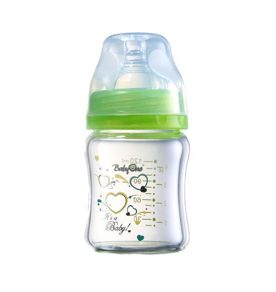 Biberon din sticla cu gat larg 120 ml Verde