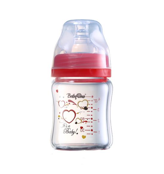 Biberon din sticla cu gat larg 120 ml Rosu