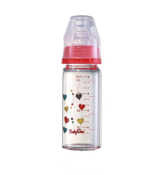 Biberon din sticla cu gat standard 120 ml Rosu