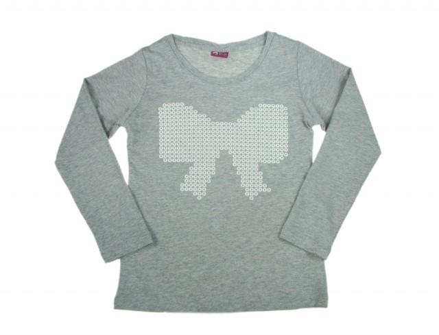 Bluza culoare gri fete imprimeu funda (Masura 122 (6-7 ani))