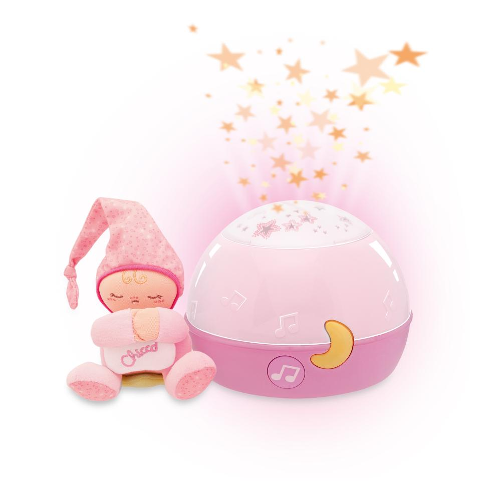 Jucarie Chicco lampa cu proiectie Primele Vise, Noapte buna, stelute Roz, 0luni+