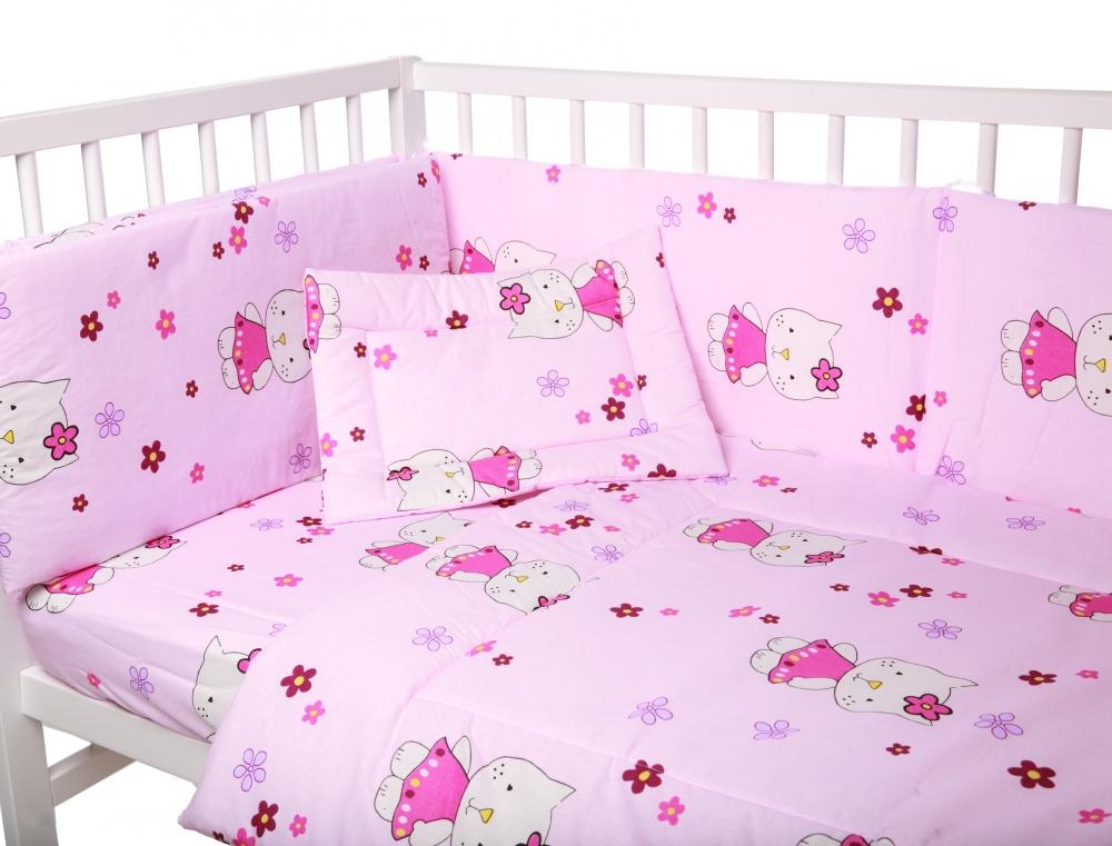 Lenjerie patut cu 5 piese Little Kitty Pink 039