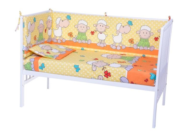 Lenjerie patut cu 5 piese Playful Sheeps Orange 021