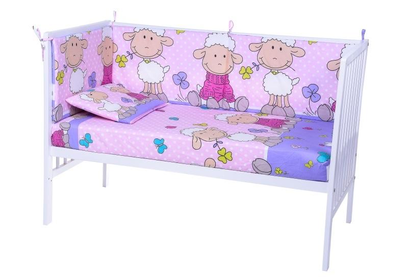 Lenjerie patut cu 5 piese Playful Sheeps Pink 023