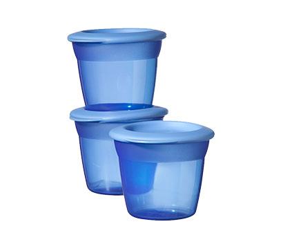 Recipiente de stocare hrana cu capac x 3 buc Albastru