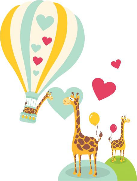 Sticker decorativ Girafe indragostite
