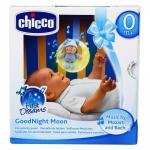Jucarie Chicco pentru patut de lemn Noapte buna, luna! bleu 0 luni+