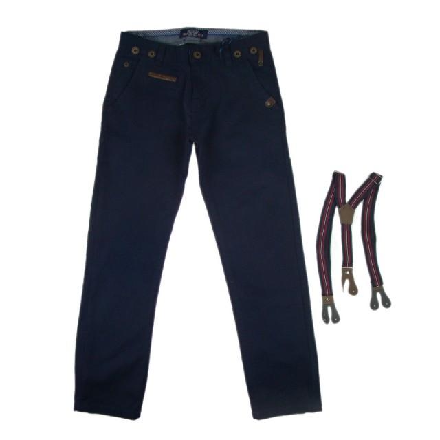 Pantaloni cu bretele, cu elastic reglabil in talie (Masura 128 (7-8 ani))