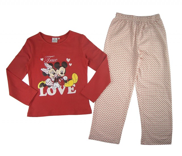 Pijamale maneca lunga fete Minnie si Mickey (Masura 98 (2-3 ani))