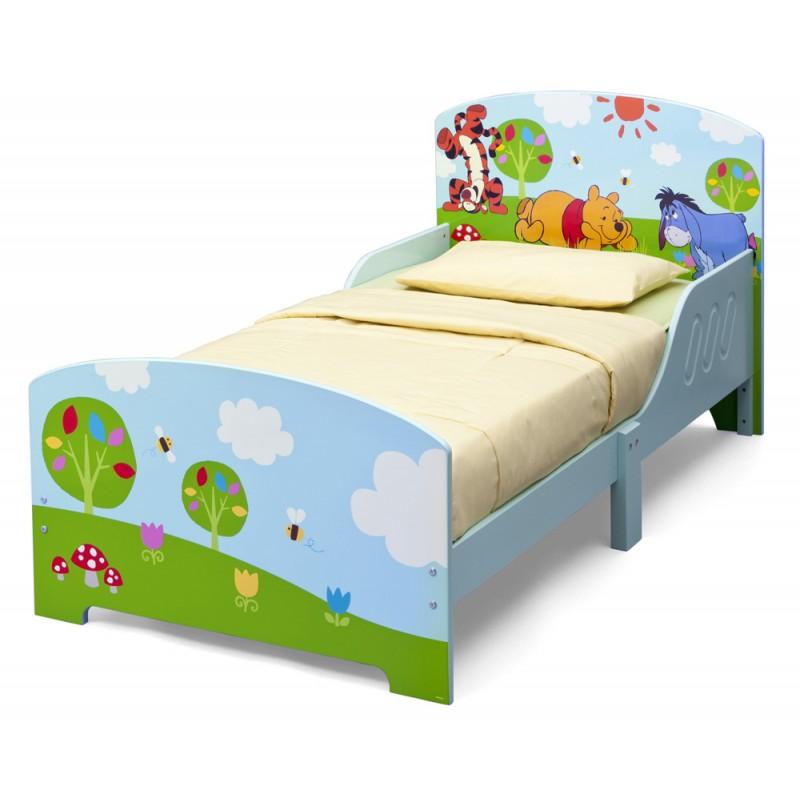 Set pat cu cadru din lemn Disney Winnie si saltea pentru patut Dreamily - 140 x 70 x 10 cm