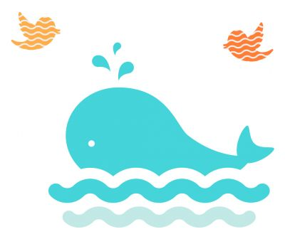 Sticker decorativ Cute Whale