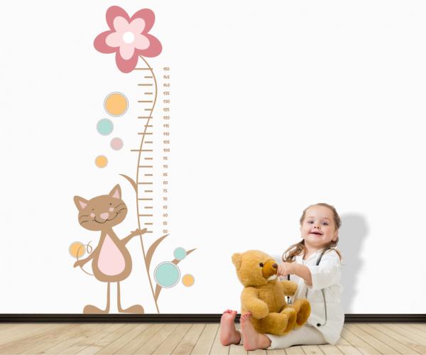Sticker Decorativ Metru Cat With Flower