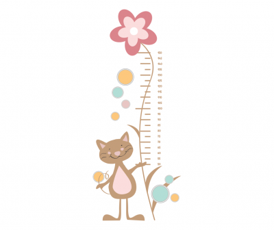 Sticker decorativ metru Cat with Flower