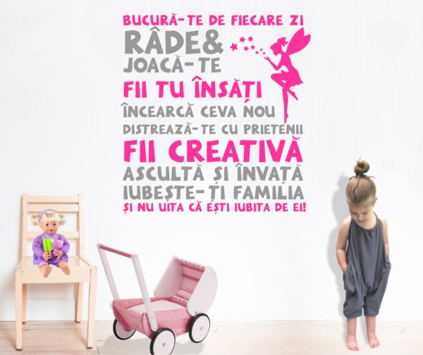 Sticker decorativ perete Citat pentru fetite