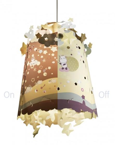 Abajur pentru lampa de tavan copii Pabobo cu Hipopotami care proiecteaza pe perete imagine