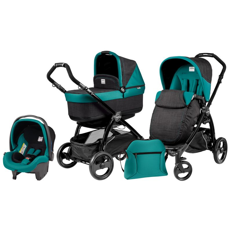 Carucior 3 in1 Book Plus Black POP-UP Aquamarine(verde cu gri)