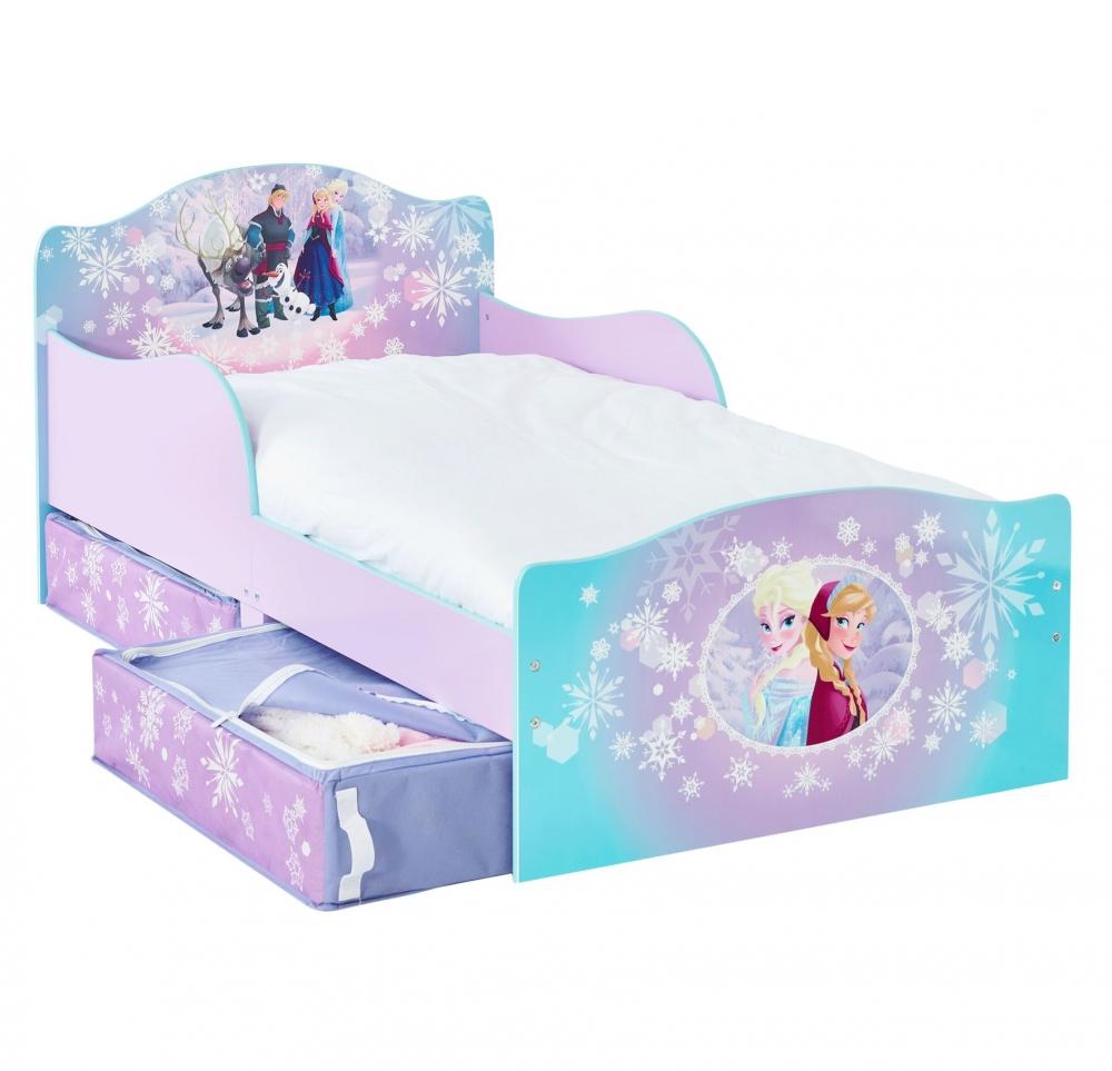 Pat pentru Fetite Disney Frozen cu spatiu depozitare