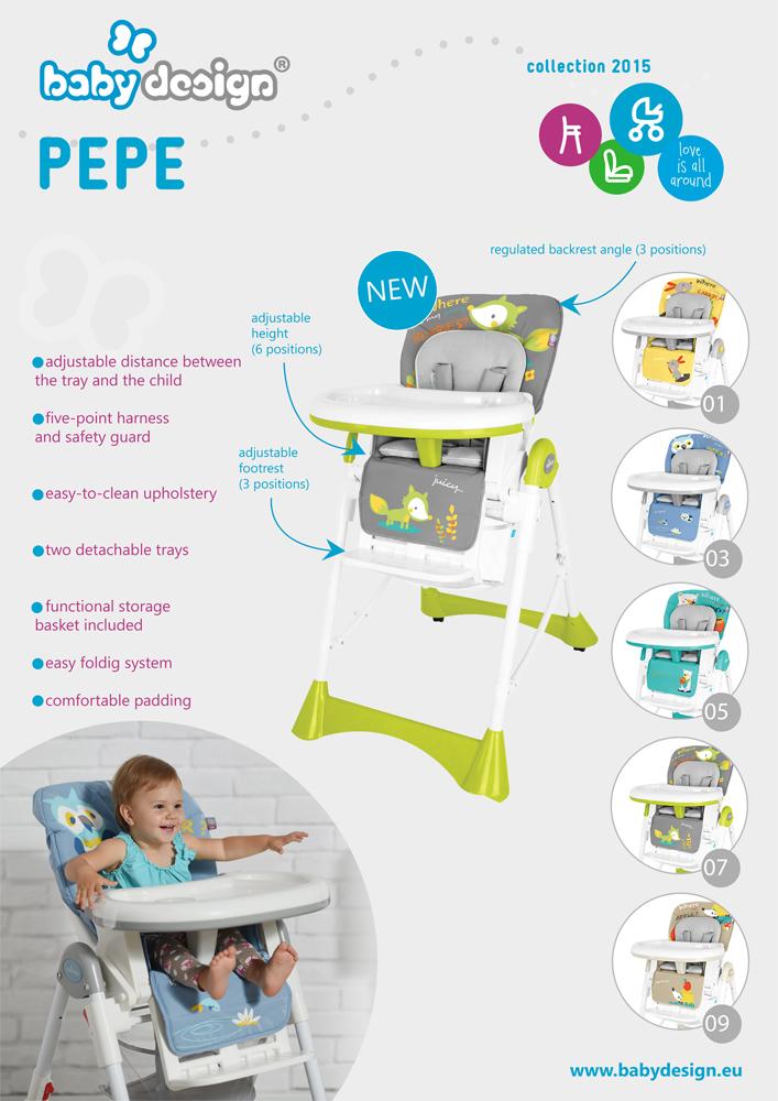 Scaun de masa Baby Design Pepe Grey Fox