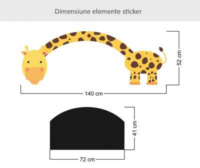Sticker cu tabla de scris Girafa cu gat lung