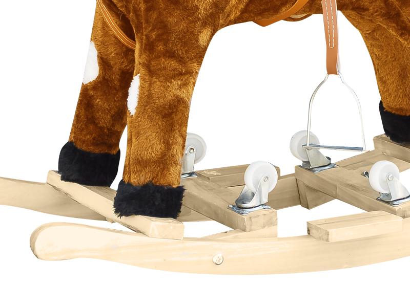 Calut balansoar cu roti pentru copii Plus maro deschis cu pete