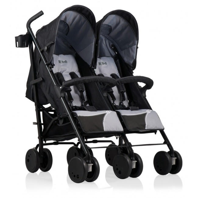 Carucior gemeni Zipper Duo Kiddo Black-Grey