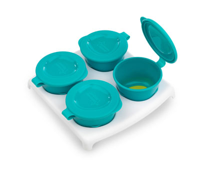 Explora Recipient de stocare hrana x 4 buc cu farfurie Albastru